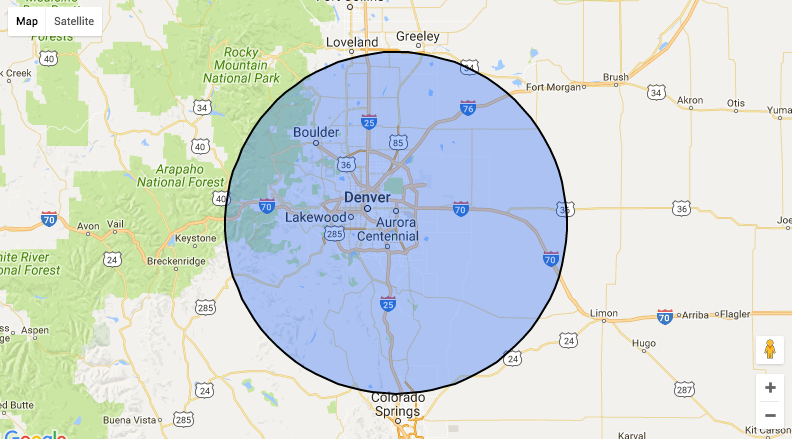 Our Service Area within 75 miles of Aurora Colorado (CO)